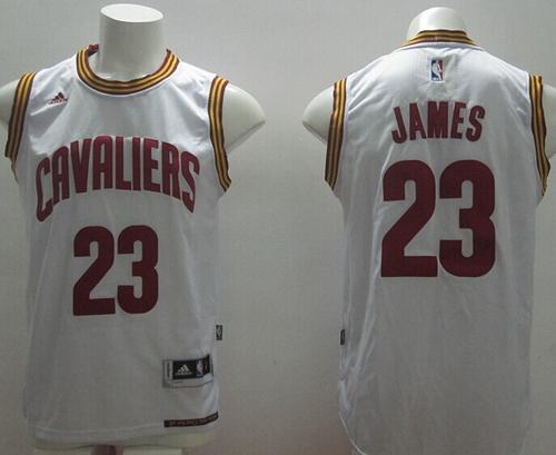 size 40 4b05f 8a2ca Revolution 30 Cavaliers #23 LeBron James White Home Stitched NBA Jersey