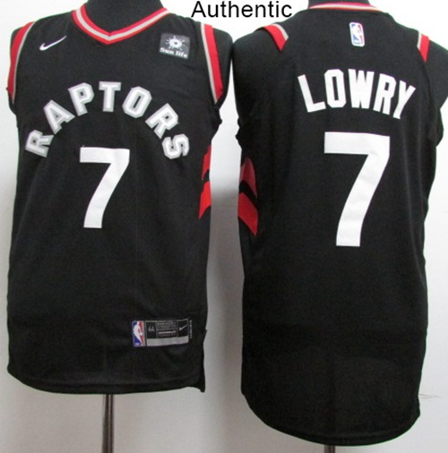 Nike Raptors #7 Kyle Lowry Black NBA Authentic Statement Edition ...