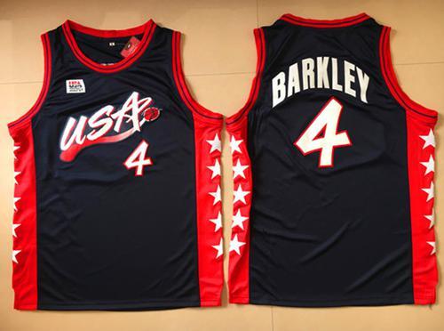 Team USA #4 Charles Barkley Navy Blue