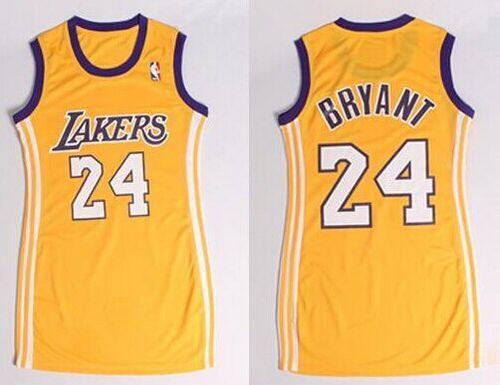 Lakers #24 Kobe Bryant Gold Dress Women's Stitched NBA Jersey