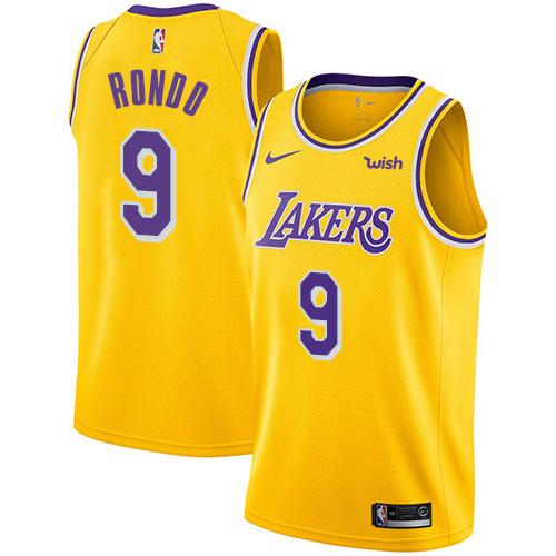 Nike Lakers #9 Rajon Rondo Gold Women's NBA Swingman Icon Edition ...
