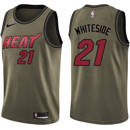 the latest e8893 f6fc4 Nike Heat #21 Hassan Whiteside Green Salute to Service Youth NBA Swingman  Jersey